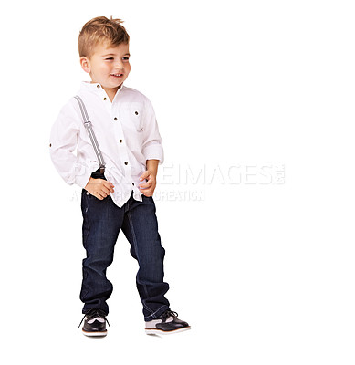 Buy stock photo A cute little boy posing on a white background