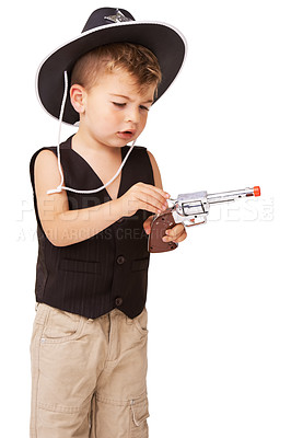 Buy stock photo A cute little boy pretending to be a cowboy