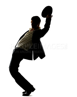 Buy stock photo Portrait of a young male dancer performing a move against white background