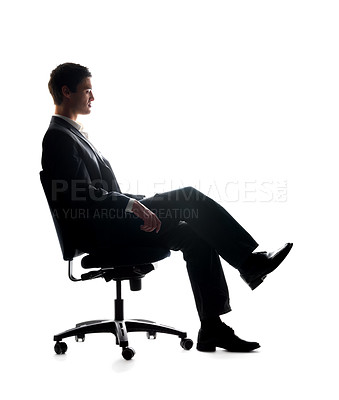 Buy stock photo Portrait of a young business man relaxing in chair on isolated background