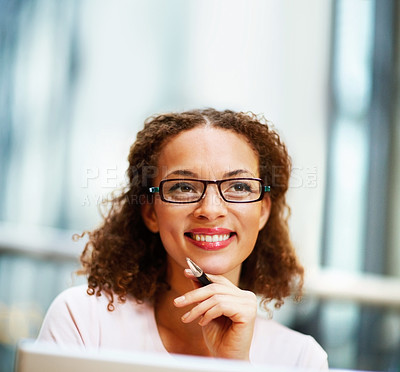 Buy stock photo Lovely young African American business woman wearing spectacles at work