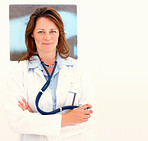 Middle aged female doctor holding her stethoscope and smiling