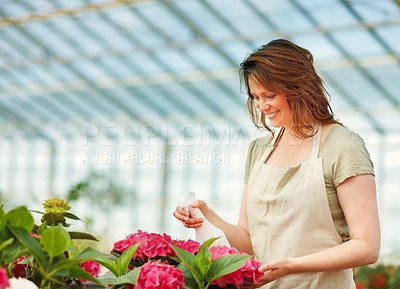 Buy stock photo Happy young woman watering flowers while at a greenhouse