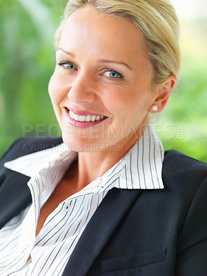 Buy stock photo Closeup portrait of a cheerful mature business woman