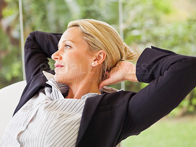 Buy stock photo A successful mature business woman, day dreaming