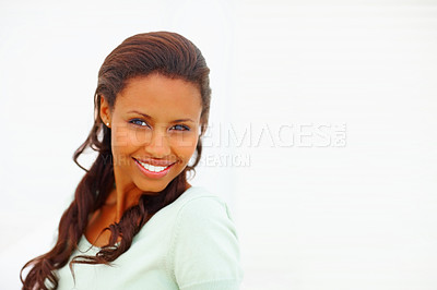 Buy stock photo Closeup of a pretty African American young woman smiling
