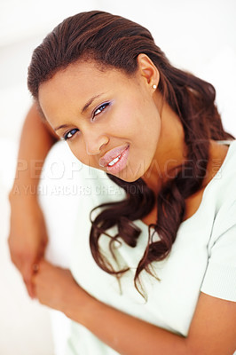 Buy stock photo Closeup portrait of a thoughtful African American woman