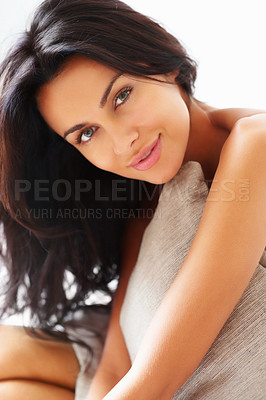 Buy stock photo Closeup of a happy woman with pillow looking at you