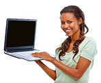 Happy woman displaying a laptop on white