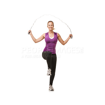 Buy stock photo Portrait of an attractive young woman looking happy as she skips