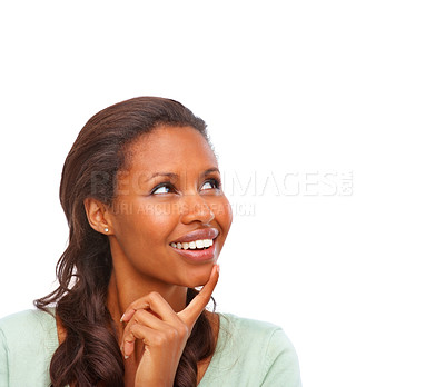 Buy stock photo Lost in thought - Pretty African American looking at copyspace over white background