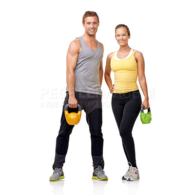 Buy stock photo Studio shot of of two people with weights isolated on white