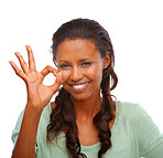 Pretty African American female showing an OK sign over white