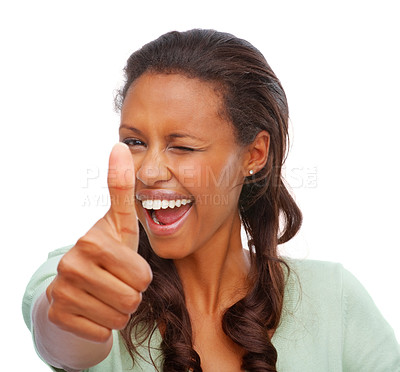 Buy stock photo Happy African American female showing a thumbs up sign on white, winking