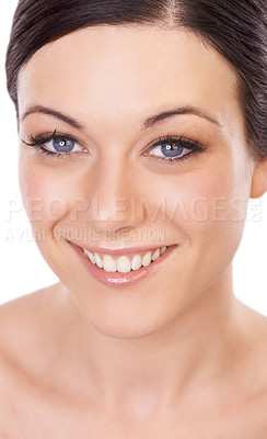 Buy stock photo A lovely young brunette smiling broadly at the camera - closeup