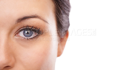 Buy stock photo Cropped image of a woman's face looking at the camera  - copyspace