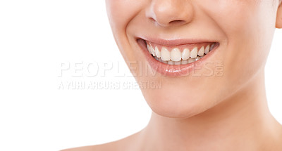 Buy stock photo Cropped image of a woman smiling broadly - copyspace