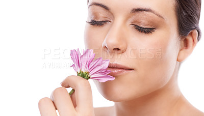 Buy stock photo A lovely young woman smelling a beautiful pink flower - copyspace