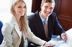 Smiling business people with confidence