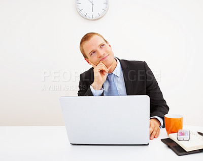 Buy stock photo Handsome young thoughtful business man sitting in the office