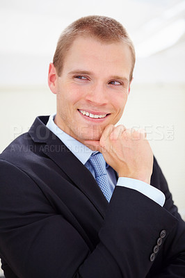 Buy stock photo A handsome business man looking away