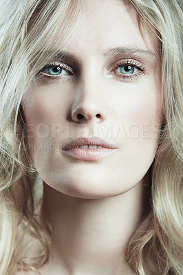 Buy stock photo Closeup portrait of a naturally gorgeous young woman with flawless, glowing skin