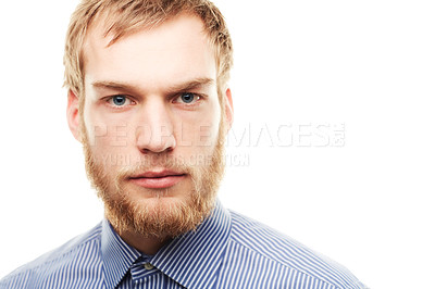 Buy stock photo Portrait of a determined looking young man isolated on white