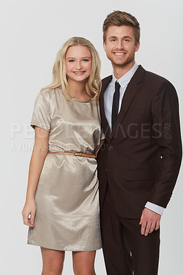 Buy stock photo Studio portrait of a well-dressed young couople
