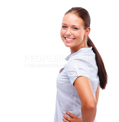 Buy stock photo Cute young woman posing isolated against white background