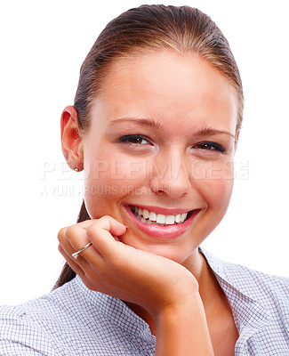 Buy stock photo Closeup portrait of a happy young female with hand on chin over white background
