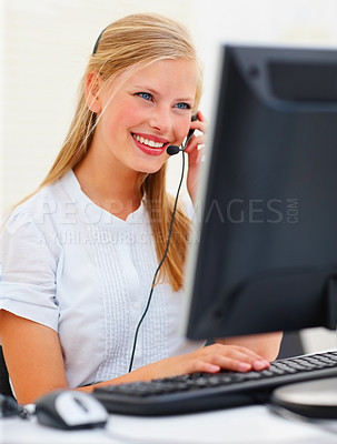 Buy stock photo Happy successful business woman working on the computer