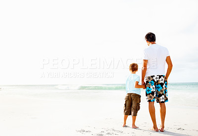 Buy stock photo Rear view of a father and son holding hands looking at the peaceful seascape
