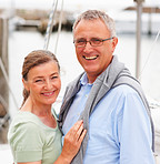 Lovely mature couple on a sea voyage