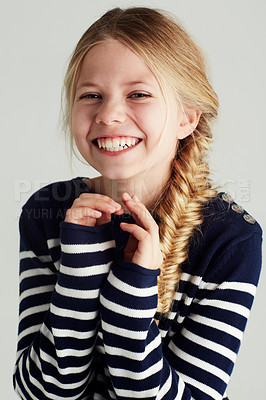 Buy stock photo Portrait of a cute girl giving you a huge smile