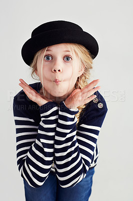 Buy stock photo Portrait of a cute girl pulling a fish face