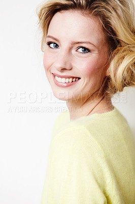 Buy stock photo Portrait of a beautiful young woman smiling happily