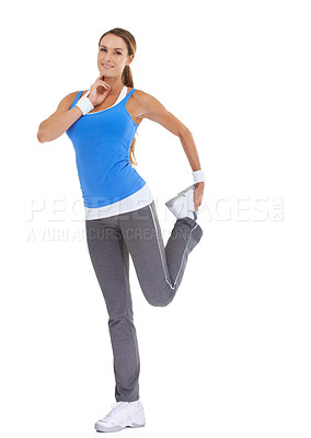 Buy stock photo Healthy young woman in sportswear stretching while isolated on white and taking her pulse
