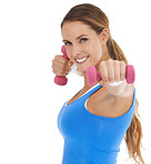 Using dumbbells to boost her workout