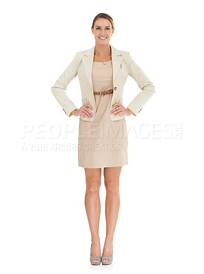 Buy stock photo A beautiful businesswoman standing with her hands on her hips against a white background