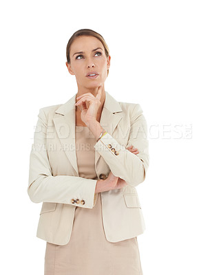 Buy stock photo A businesswoman looking thoughtful against a white background
