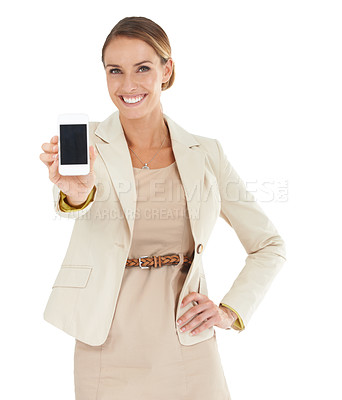 Buy stock photo An attractive businesswoman showing her cellphone to the camera