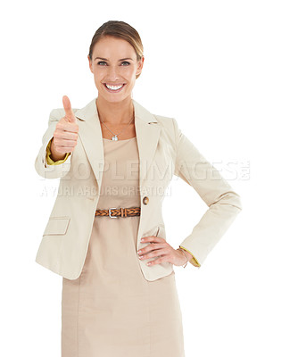Buy stock photo A beautiful businesswoman showing a thumbs-up to the camera