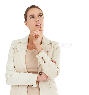 Buy stock photo An attractive businesswoman looking thoughtful with her hand on her chin