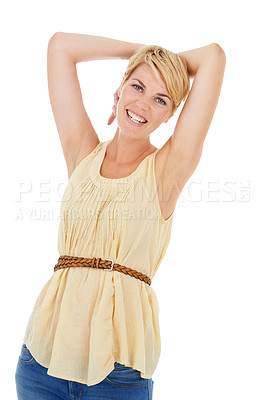 Buy stock photo A pretty young woman raising her arms after using her favorite deodorant product