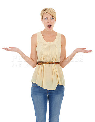 Buy stock photo A pretty young woman shrugging with disbelief while isolated on a white background