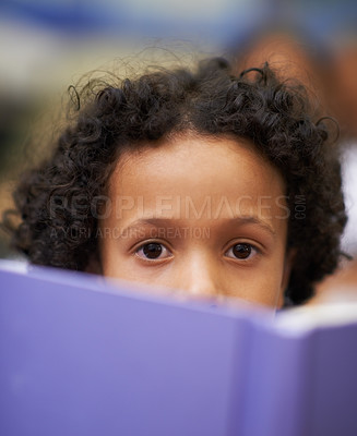 Buy stock photo Portrait of a young schoolboy reading from a book