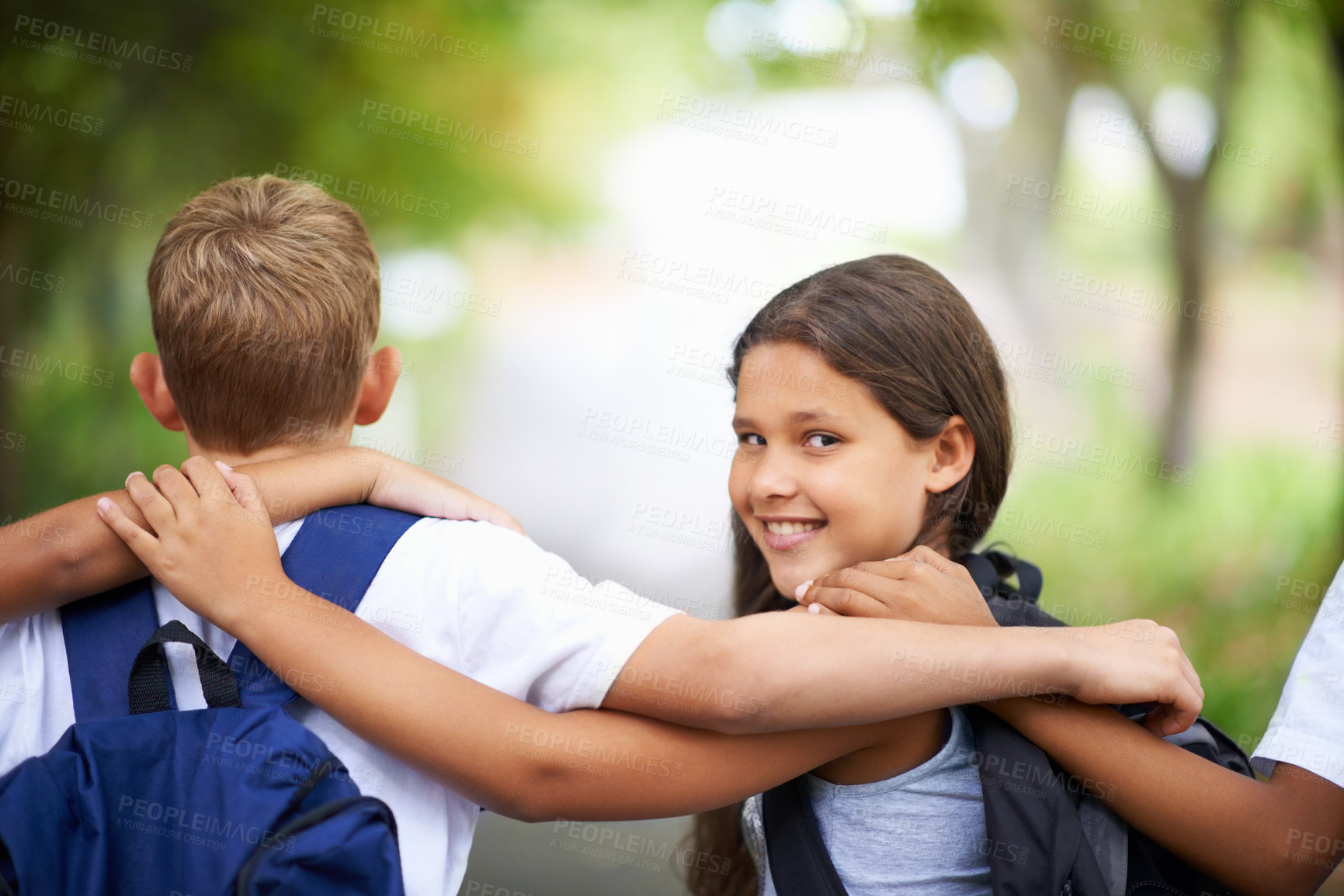 Buy stock photo Cropped shot of elementary school kids