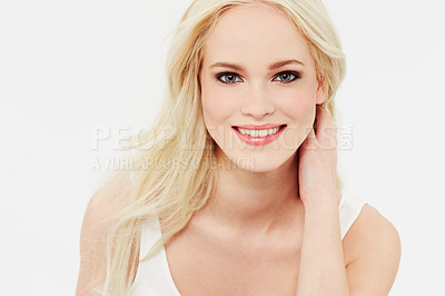 Buy stock photo Portrait of a beautiful smiling blonde