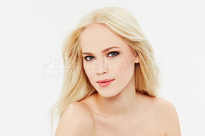 Buy stock photo Portrait of a beautiful blonde against a white background