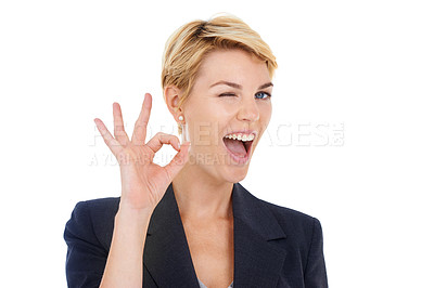 """Buy stock photo Portrait of a young businesswoman gesturing """"a-okay"""""""